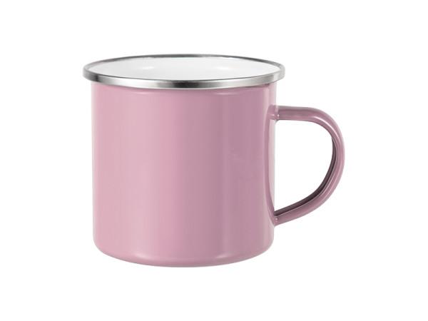Jasando.ch - Emailletasse pink glänzend, mit silbernem Tassenrand
