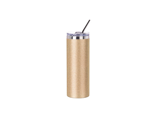 Jasando.ch - Edelstahl Getränkedose Glitter mit Trinkhalm Sublimation gold