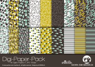 Jasando.ch - Digi-Paper-Pack Blumen braun