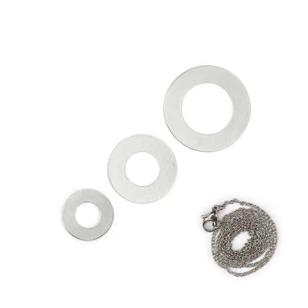 Jasando.ch - ImpressArt Stempelset Rohling 3 Scheiben für Halskette