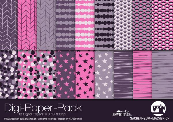 Jasando.ch - Digi-Paper-Pack branches violet