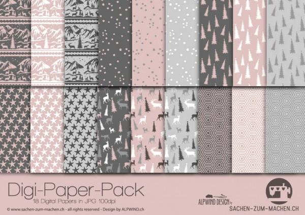 Jasando.ch - Digi-Paper-Pack Christmas duskypink