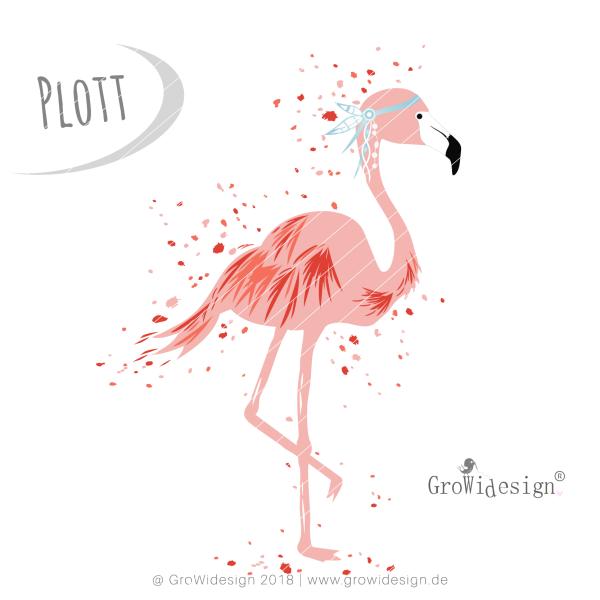 Jasando.ch - Plotterdatei Splash Flamingo