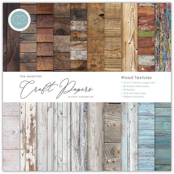 Jasando.ch - Premium Papierblock 180 g/m2 - 12'' x 12'' Wood Textures