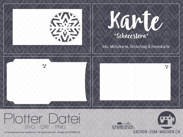 Jasando.ch - Schneestern - Karte mit Couvert und Innenkarte