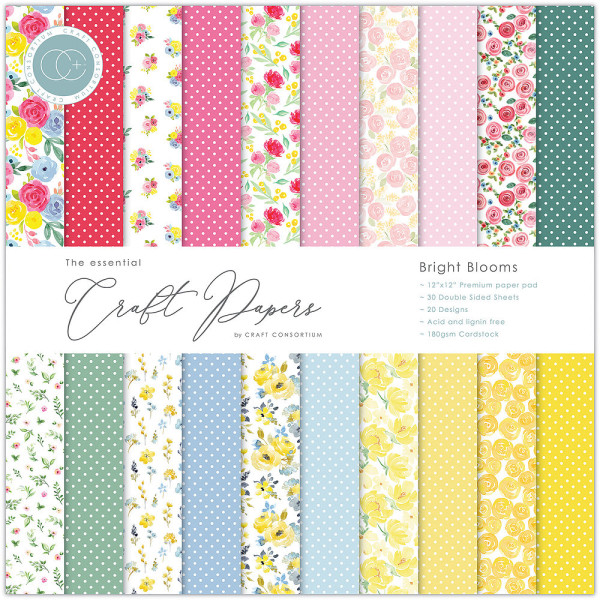 Jasando.ch - Premium Papierblock 180 g/m2 - 12'' x 12'' Bright Blooms