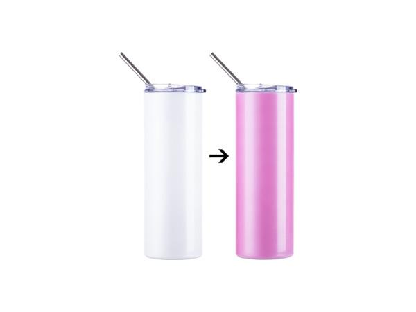 Jasando.ch - Getränkedose Farbwechsel UV 20OZ/600ml mit Trinkhalm für Sublimation weiss/pink