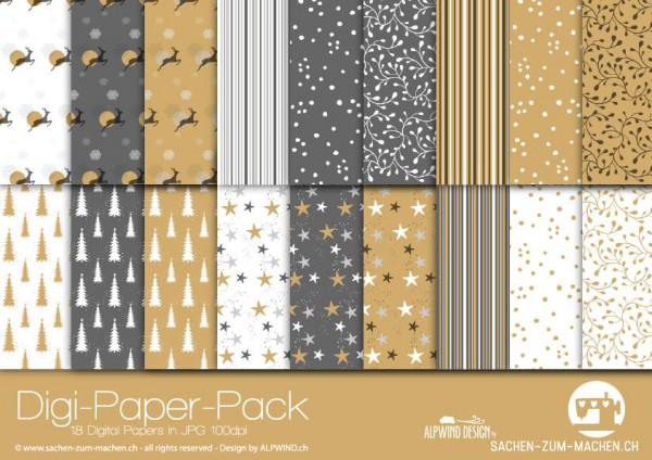 Jasando.ch - Digi-Paper-Pack Christmas gold