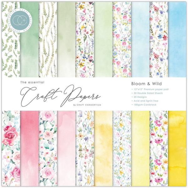 Jasando.ch - Premium Papierblock 180 g/m2 - 12'' x 12'' - Bloom & Wild