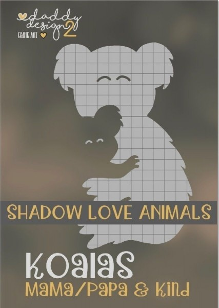 Jasando.ch - Plotterdatei KOALA LIEBE SHADOW LOVE ANIMALS MAMA PAPA EDITION