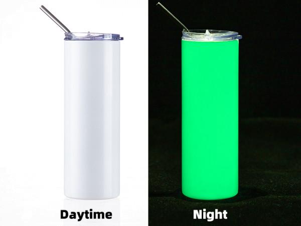 Jasando.ch - Getränkedose Glow in the Dark 20OZ/600ml mit Trinkhalm für Sublimation weiss/grün