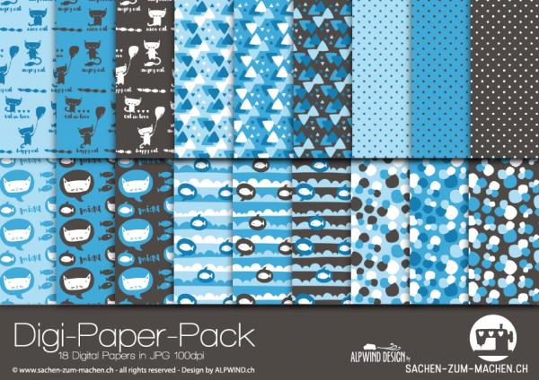 Jasando.ch - Digi-Paper-Pack cats blue