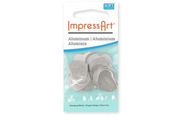 Jasando.ch - ImpressArt Stempel Rohling Herz 15 Stück, Aluminium