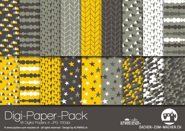 Jasando.ch - Digi-Paper-Pack mountains yellow