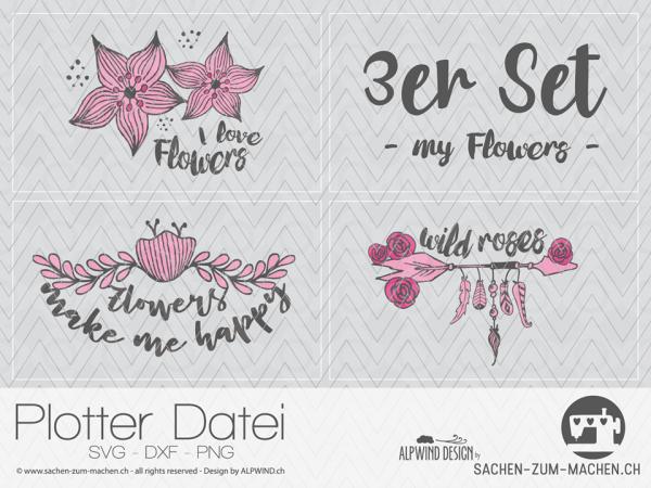 Jasando.ch - Plotterdatei my flowers 3er Set