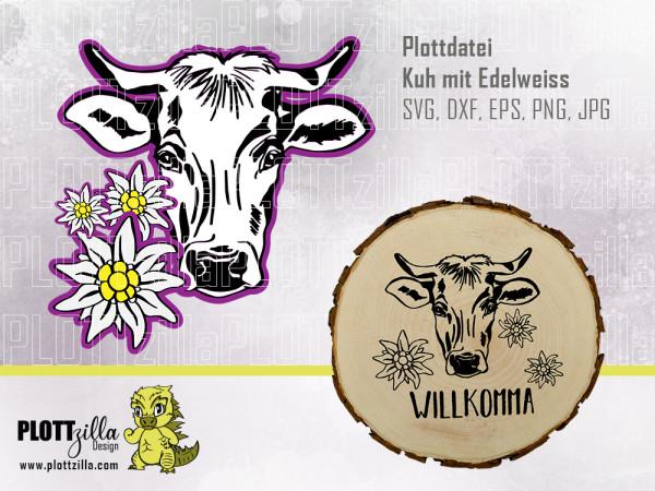 Jasando.ch - Plotterdatei Kuh mit Edelweiss