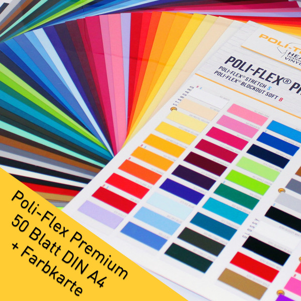 Jasando.ch - POLI-FLEX PREMIUM 50 Blatt DIN A4 Flexfolie + Farbkarte mit original Farbmuster jeder Farbe
