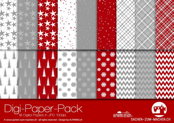 Jasando.ch - Digi-Paper-Pack Christmas red-white