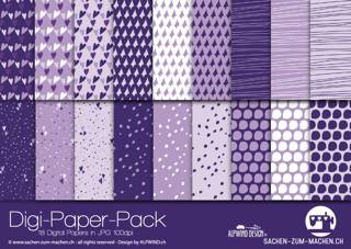 Jasando.ch - Digi-Paper-Pack flying hearts violet