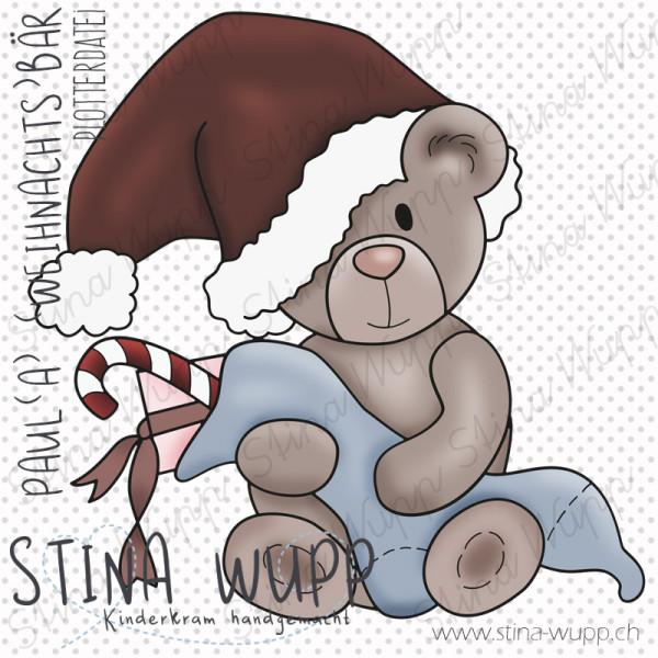 Jasando.ch - Plotterdatei Paul(a) (Weihnachts) Bär